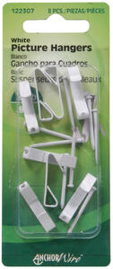 Hillman  AnchorWire  Steel-Plated  White  Standard  Picture Hanger  20 lb. 8 pk