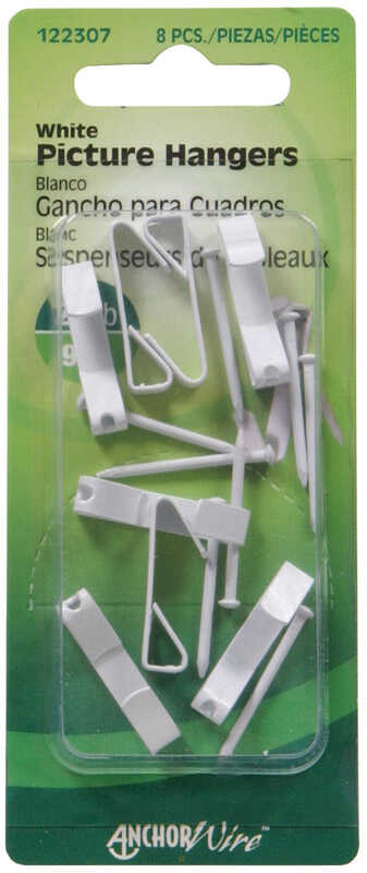 HILLMAN  AnchorWire  Steel-Plated  White  Standard  Steel  20 lb. 8 pk Picture Hanger