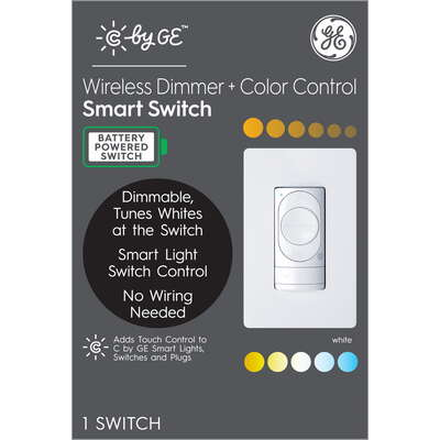 C by GE  Single Pole or 3-way  Wireless  Dimmer and Color Control Smart Switch  White  1 pk