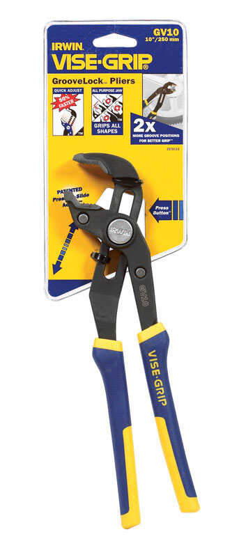 Irwin  10 in. Alloy Steel  Tongue and Groove Pliers  Blue  1 pk