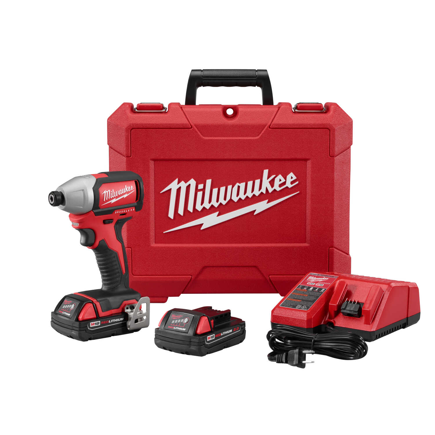 Milwaukee  M18  18 volt 1/4 in. Hex  Cordless  Brushless Impact Driver  Kit 1500 in-lb