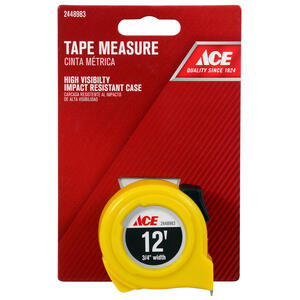 Ace  12 ft. L x 0.75 in. W High Visibility  Tape Measure  Yellow  1 pk