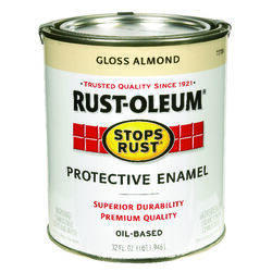 Rust-Oleum  Stops Rust  Gloss  Almond  Oil-Based  Protective Paint  1 qt. Exterior and Interior