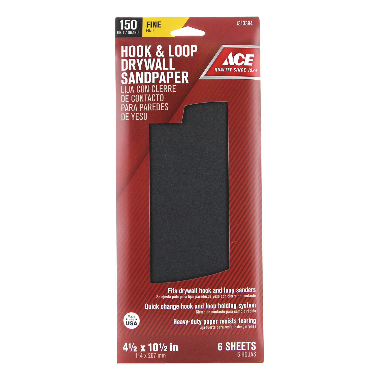 Ace  10-1/2 in. L x 4-1/2 in. W 150 Grit Very Fine  Silicon Carbide  6 pk Drywall Sanding Sheet