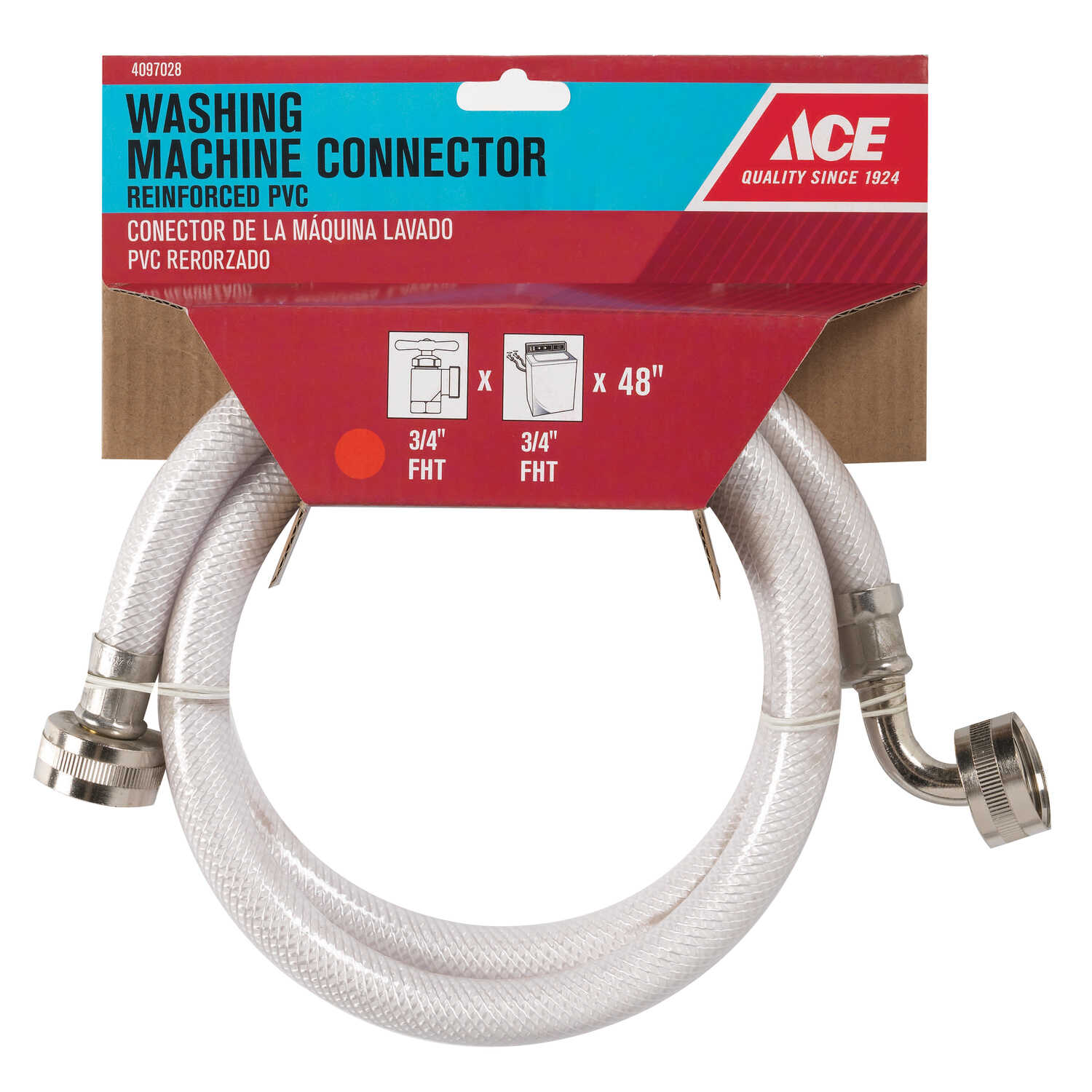 Ace Hardware  3/8 in. Hose   x 3/4 in. Dia. Hose  48 in. PVC  Supply Line