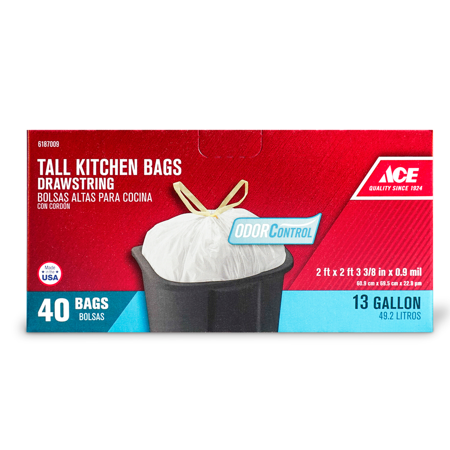 Ace  Odor Control  13 gal. Tall Kitchen Bags  Drawstring  40 pk