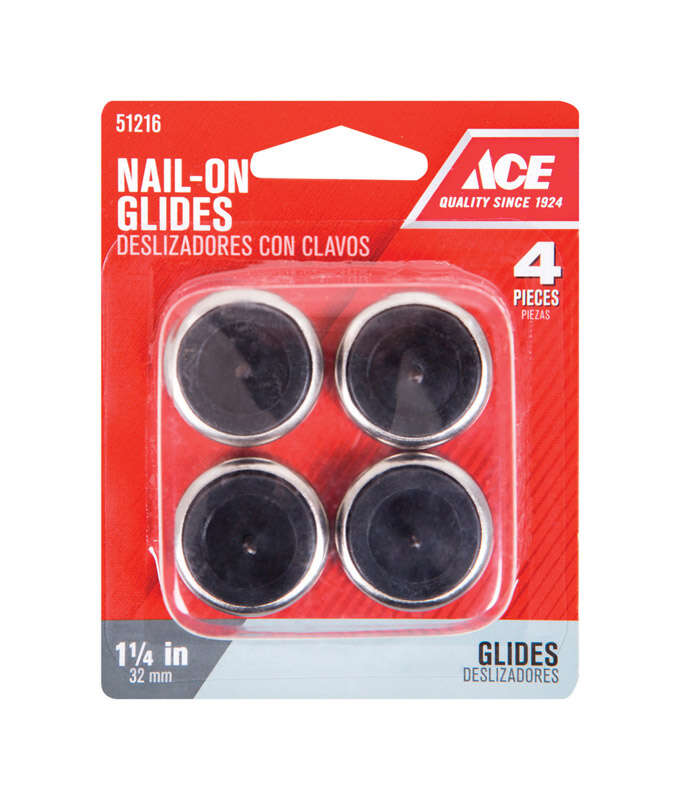 Ace  Silver  1-1/4 in. Nail-On  Nickel/Nylon  Chair Glide  4 pk