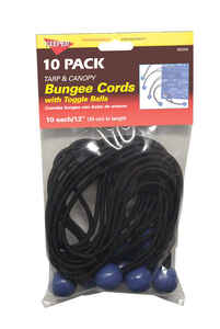 Keeper  Black  Bungee Cord Set  12 in. L x 0.1565 in.  10 pk