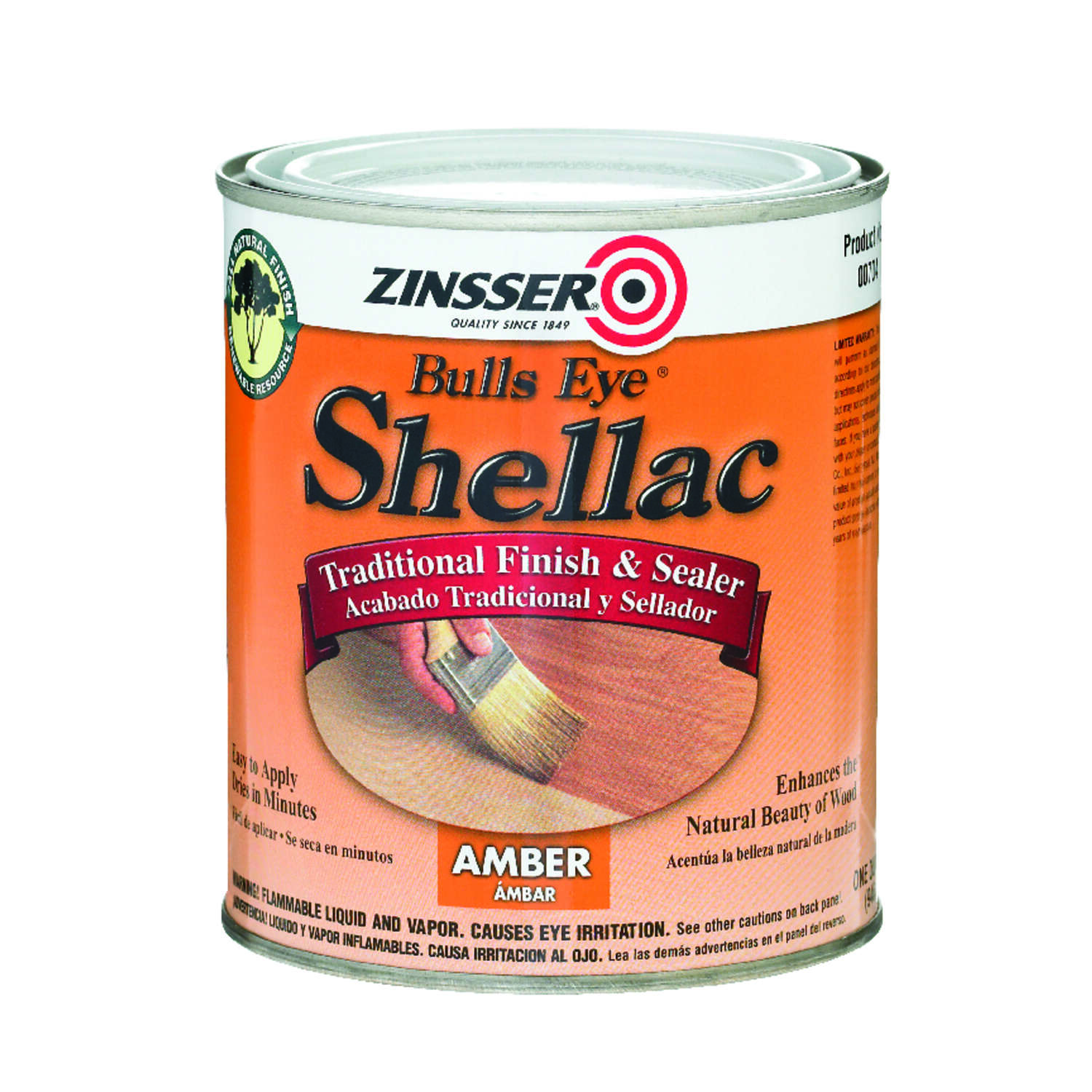Zinsser  Bulls Eye   Amber  Shellac  Finish and Sealer  1 qt.