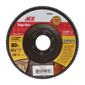 Ace  4-1/2 in. Dia. x 7/8 in.   Zirconia Aluminum Oxide  Flap Disc  80 Grit Medium  1 pc.