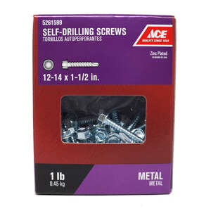Ace  1-1/2 in. L x 12-14 Sizes  Hex Washer Head Zinc-Plated  Hex  Self- Drilling Screws  Steel  1 lb