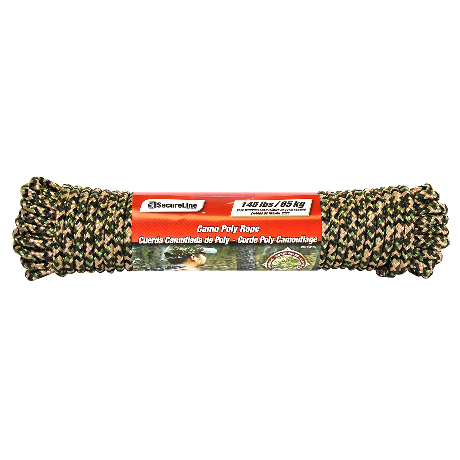 SecureLine  75 ft. L x 5/16 in. Dia. Camouflage  Diamond Braided  Rope  Polypropylene