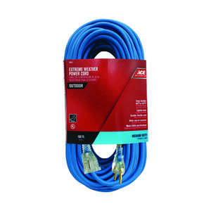 Ace  100 ft. L Blue  Extension Cord  Outdoor  14/3 SJOW