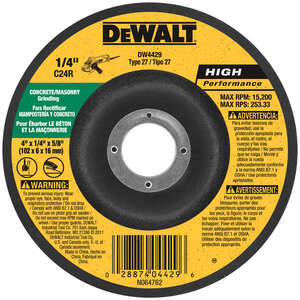 DeWalt  1/4 in. thick  x 5/8 in.   x 4 in. Dia. Aluminum Oxide  Masonry Grinding Wheel  15200 rpm 1