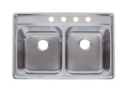 Franke  Stainless Steel  Top Mount  14.687 in. W x 18.187 in. L Double Bowl  Kitchen Sink  Silver