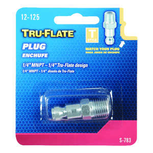 Tru-Flate  Steel  Air Plug  1/4  1/4 in. Male  1/4  1 pc. MNPT  Male
