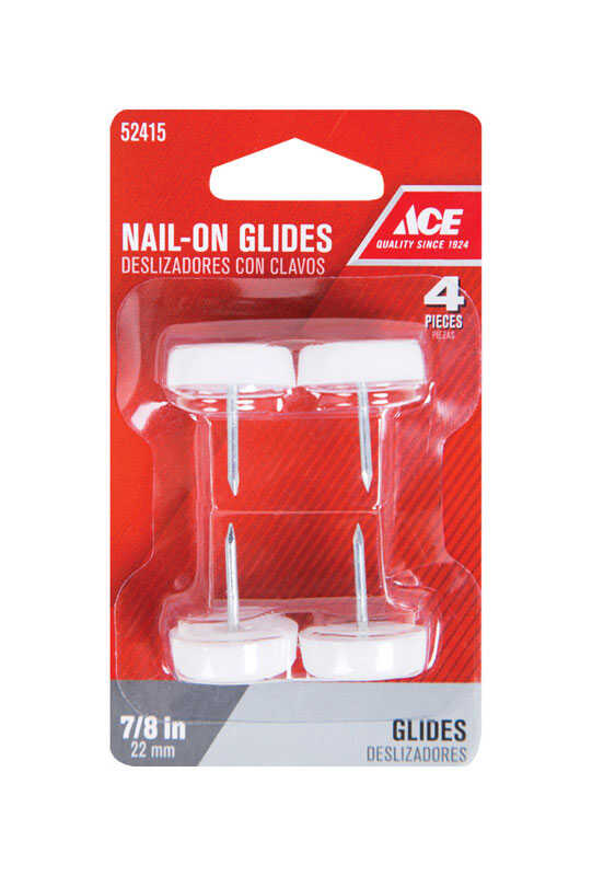 Ace  Nylon/Plastic  0.88 in. Nail On  Chair Glide  4 pk