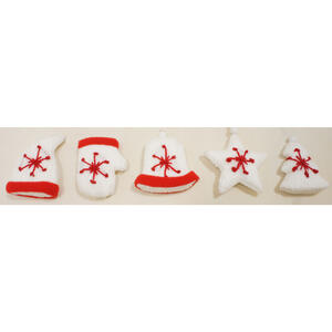 Sienna  Knitted Mixed Icon Christmas  Light Set  Red/White  Fabric  10 count