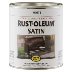 Rust-Oleum  Stops Rust  Satin  White  Oil-Based  Exterior and Interior  1 qt. Protective Paint