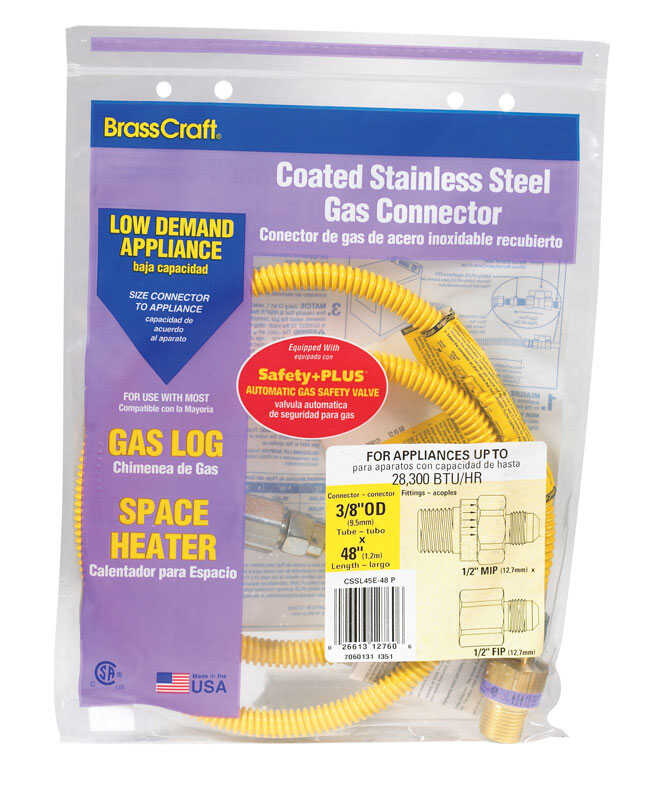 Brasscraft  ProCoat  1/2 in. FIP   x 1/2 in. Dia. MIP  Stainless Steel  48 in. Connector