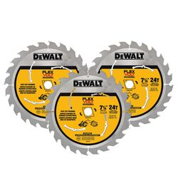 DeWalt  Flexvolt  7-1/4 in. Dia. x 5/8 in.  Carbide Tipped Steel  Circular Saw Blade  24 teeth 3 pk