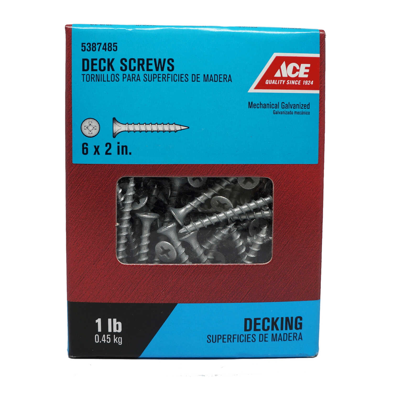 Ace  No. 6   x 2 in. L Phillips  Bugle Head Galvanized  Steel  Deck Screws  1 lb.