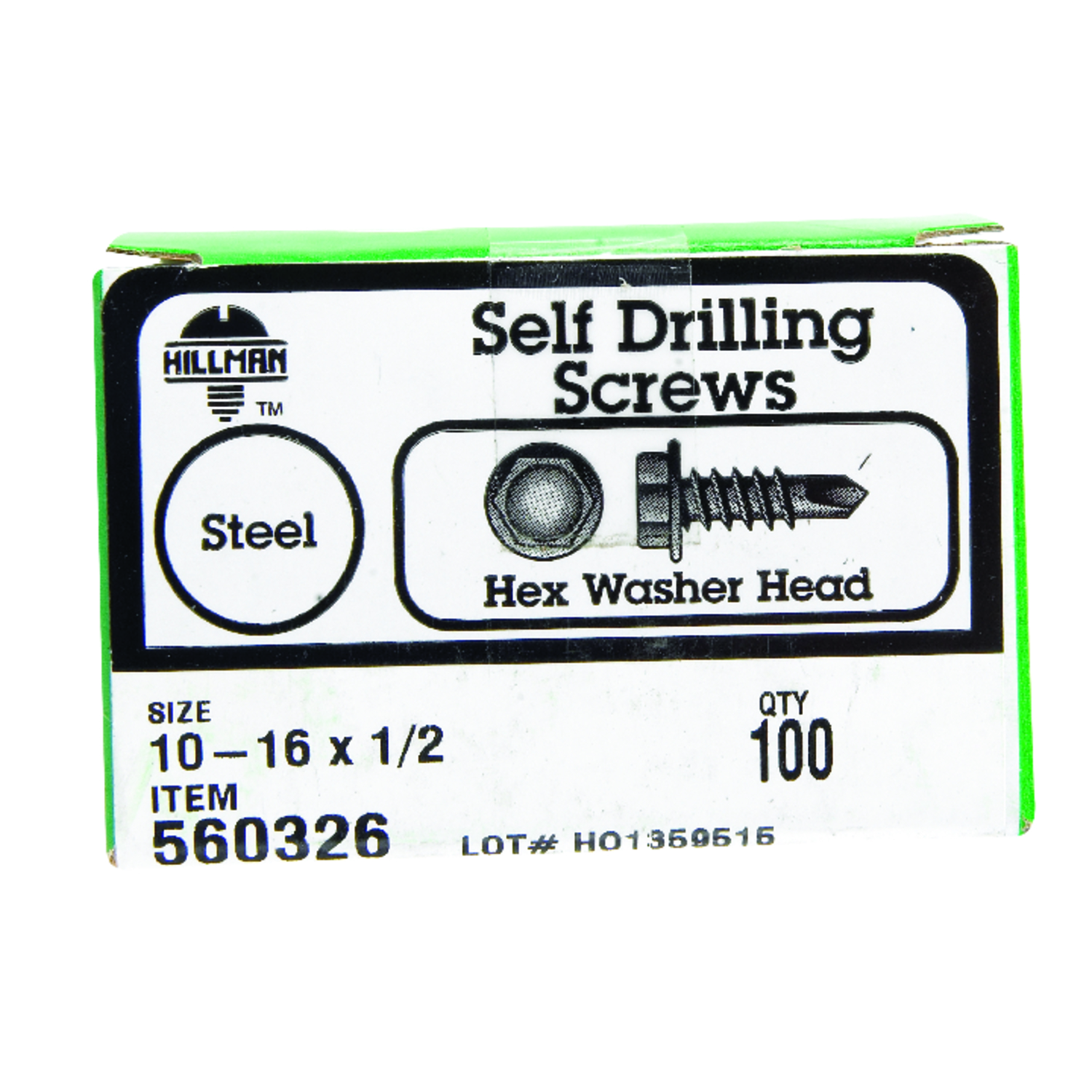 HILLMAN  10-16   x 1/2 in. L Hex  Zinc-Plated  Hex Washer  Self- Drilling Screws  Steel  100 per box