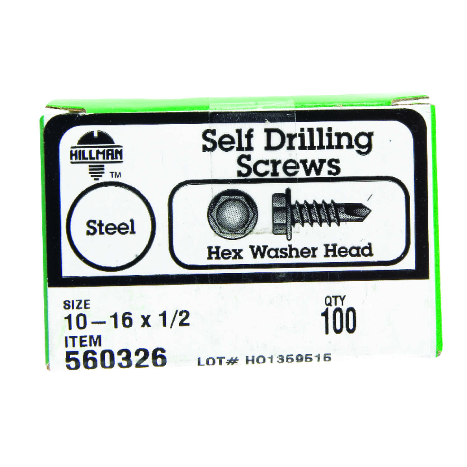 Hillman  10-16 in.  x 1/2 in. L Hex Washer Head Zinc-Plated  Steel  Self- Drilling Screws  100  1 pk