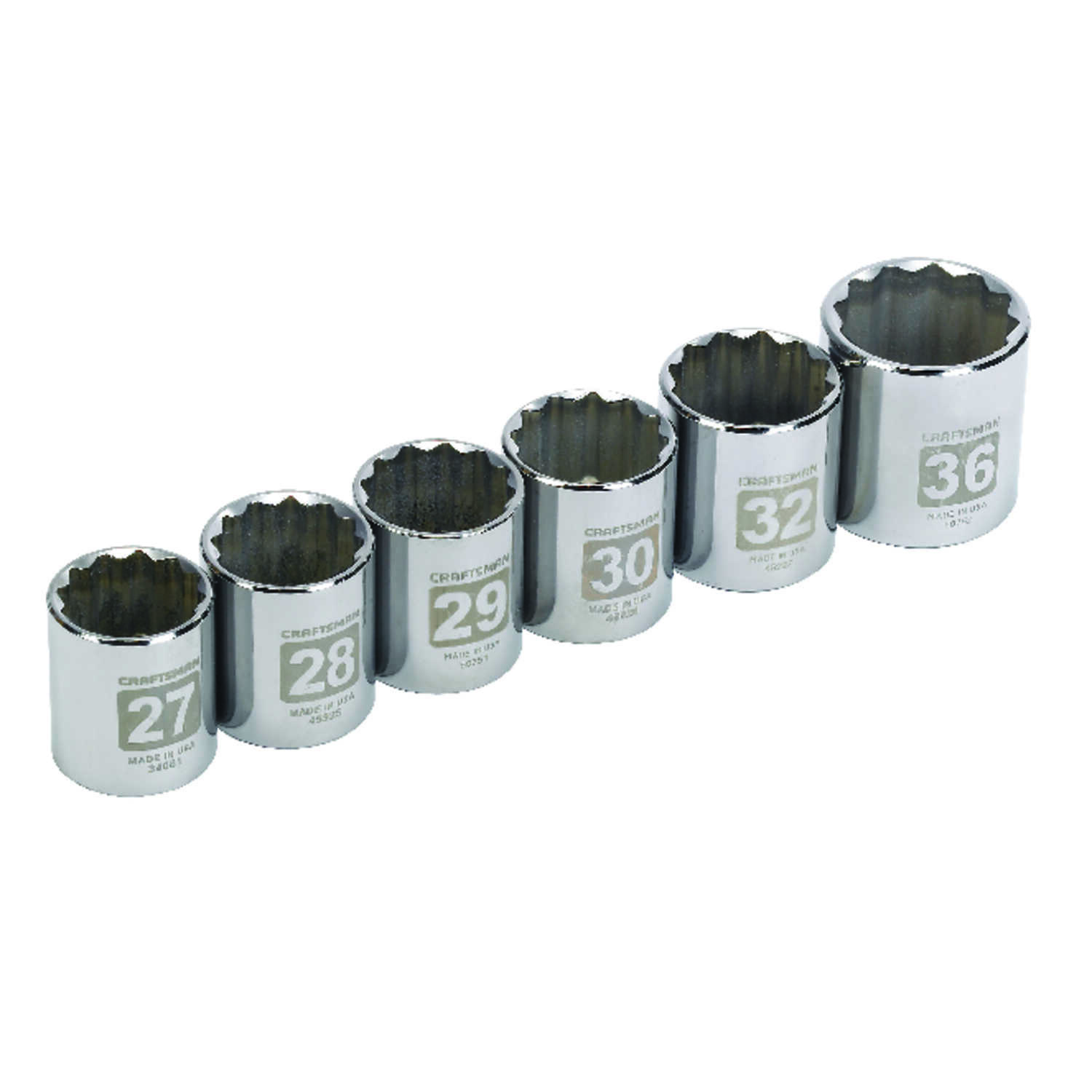 Craftsman  6 pc.  36 mm  x 1/2 in. drive  Metric  12 Point Socket Set  6 pc.