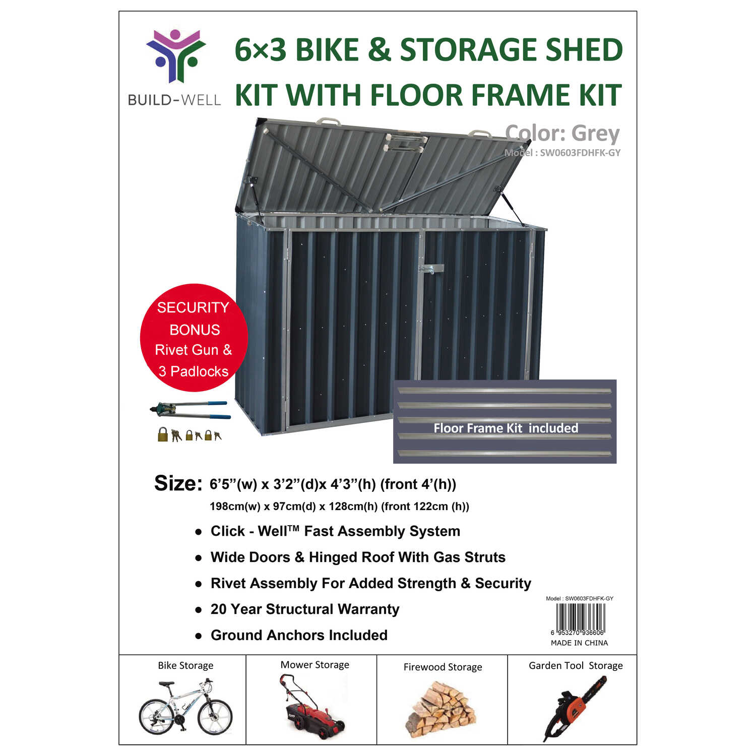 Build-Well  4.25 ft. H x 6.41 ft. W x 3.2 ft. D Gray  Steel  Storage Shed and Floor Kit