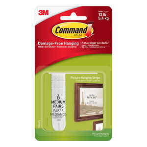 3M  Command  White  Foam  12 lb. 12 pk Picture Hanging Strips