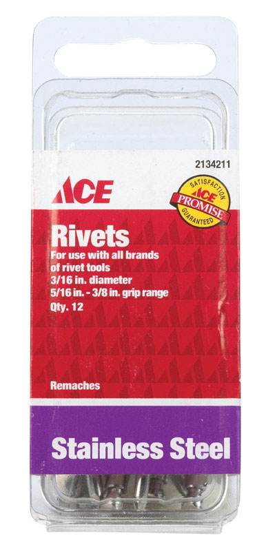 Ace  3/8  L Stainless Steel  Rivets  Silver  12 pk 3/16