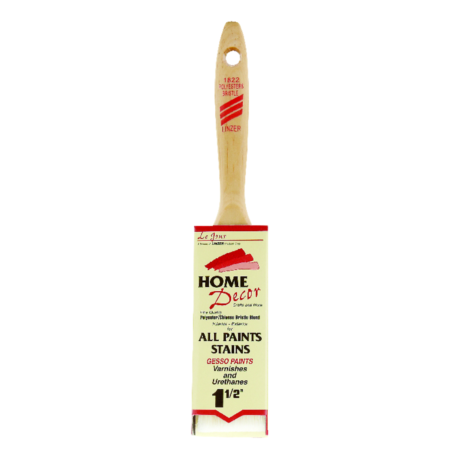 Linzer  1-1/2 in. W Flat  Polyester  Paint Brush  Home Decor