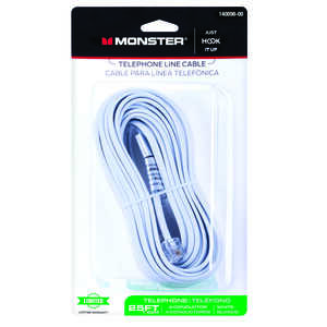 Monster Cable  25 ft. L White  Modular Telephone Line Cable