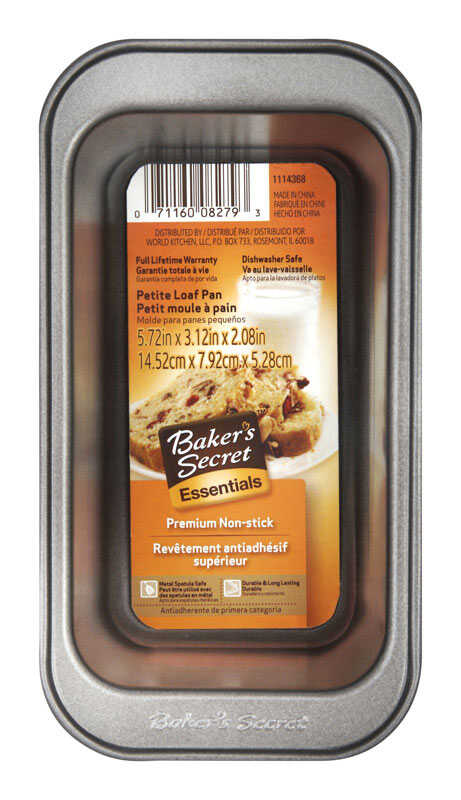Baker's Secret  3.19 in. W x 5.8 in. L Loaf Pan  Gray  1