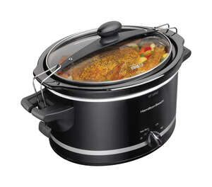 Hamilton Beach  Black  Slow Cooker  4 qt. Metal