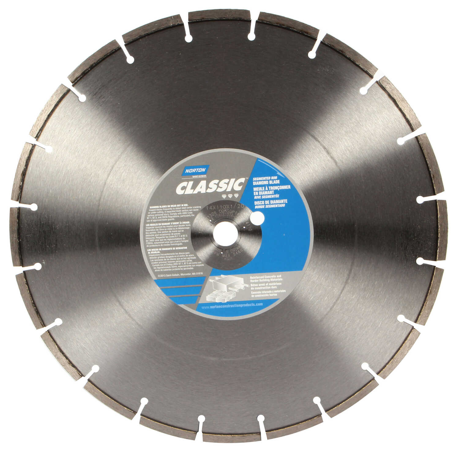 Norton  Classic  14 in. Dia. x 1 in.  Segmented Rim Circular Saw Blade  Diamond  1 pk
