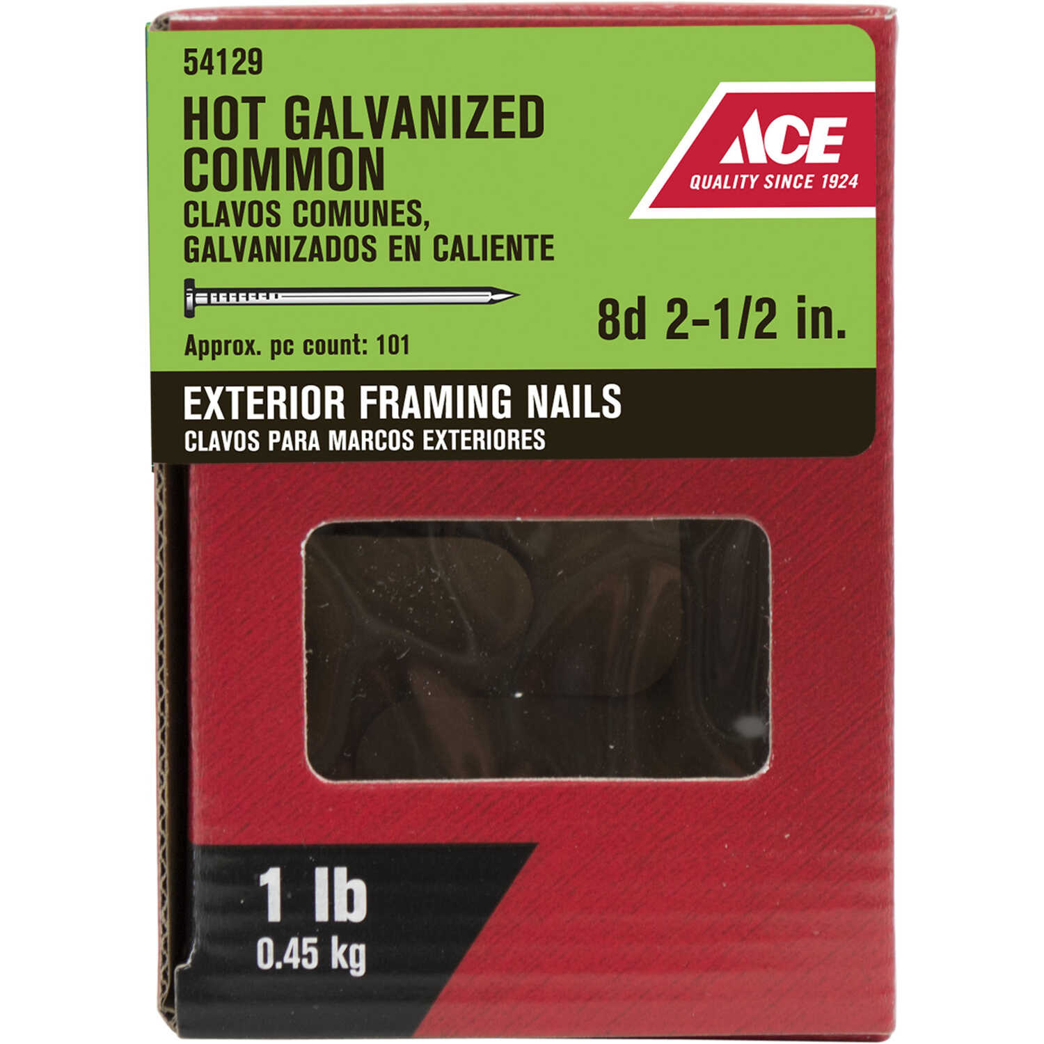 Ace  8D  2-1/2 in. L Common  Steel  Nail  Flat Head Smooth Shank  1 lb.