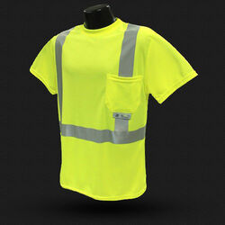 Radians  Radwear  Reflective Birdseye Mesh  Hi-Viz  Safety Tee Shirt  Fluorescent Green  XL