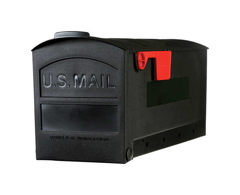 Gibraltar Mailboxes  Gibraltar  Roughneck  Plastic  Post Mounted  Black  Mailbox  9-3/4 in. H x 8-3/
