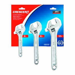 Crescent  6, 8 and 10 in. L SAE  Adjustable Wrench Set  3 pc.