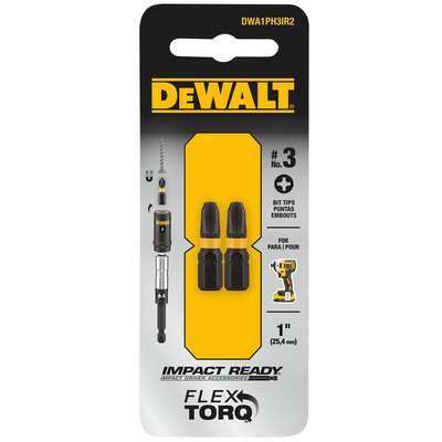 DeWalt  Impact Ready  Phillips  #3 in.  x 1 in. L Screwdriver Bit  Black Oxide  2 pc.