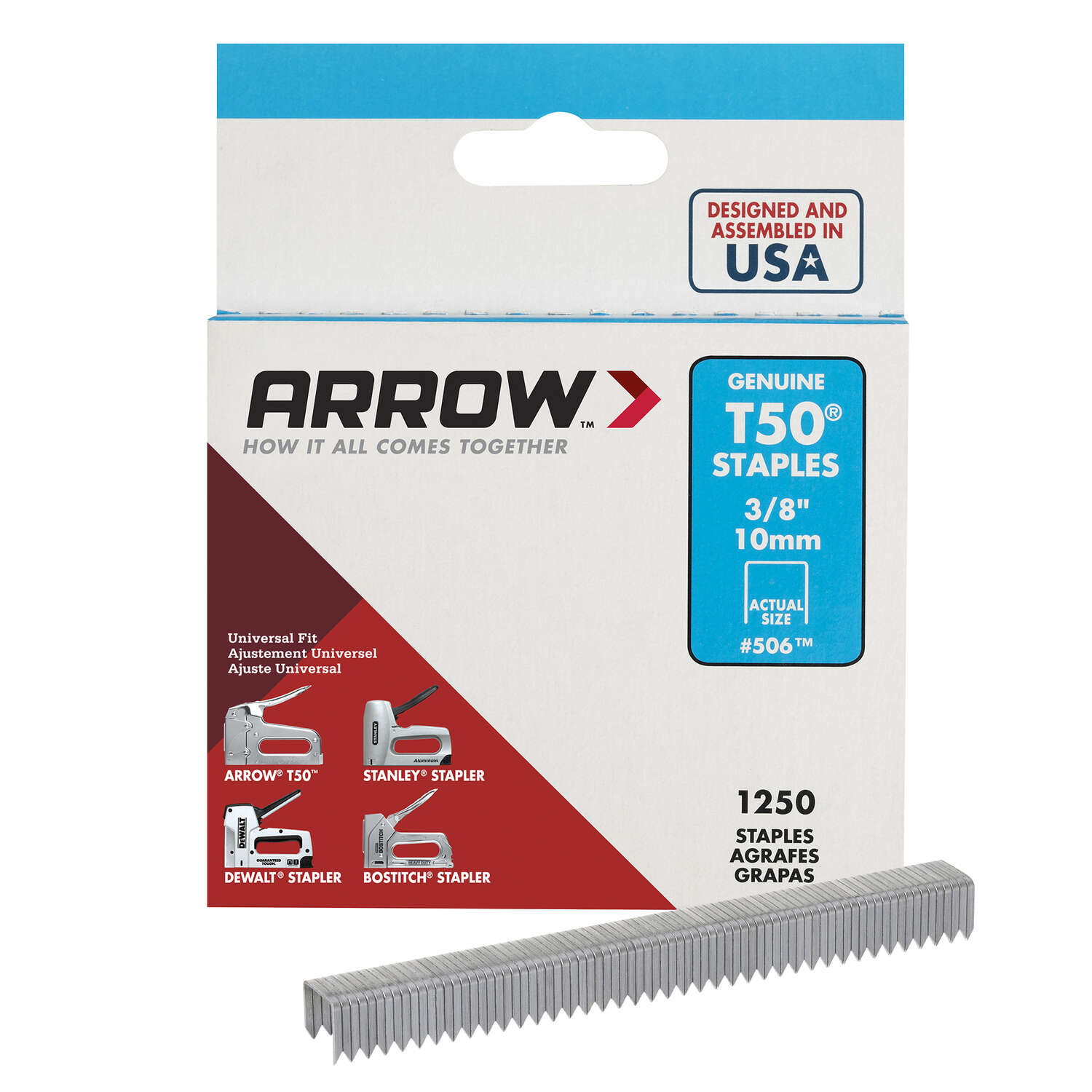 Arrow Fastener  T50  3/8 in. W x 3/8 in. L 18 Ga. Flat Crown  Heavy Duty Staples  1250 pk