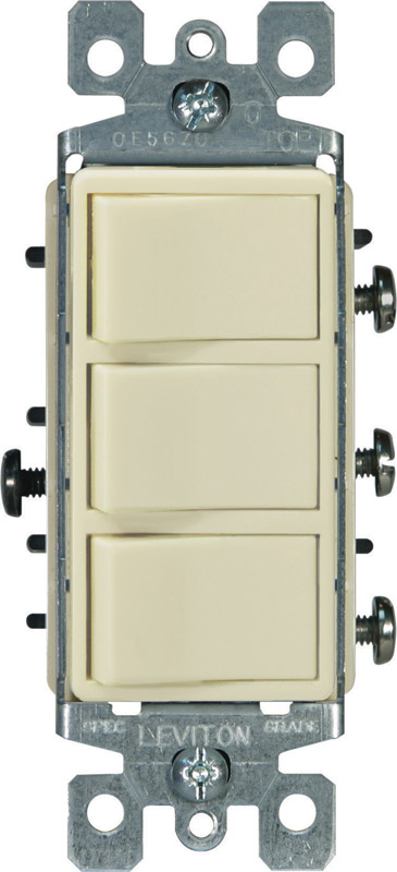Leviton  15 amps Combination  Triple Combination Switch  1  Ivory