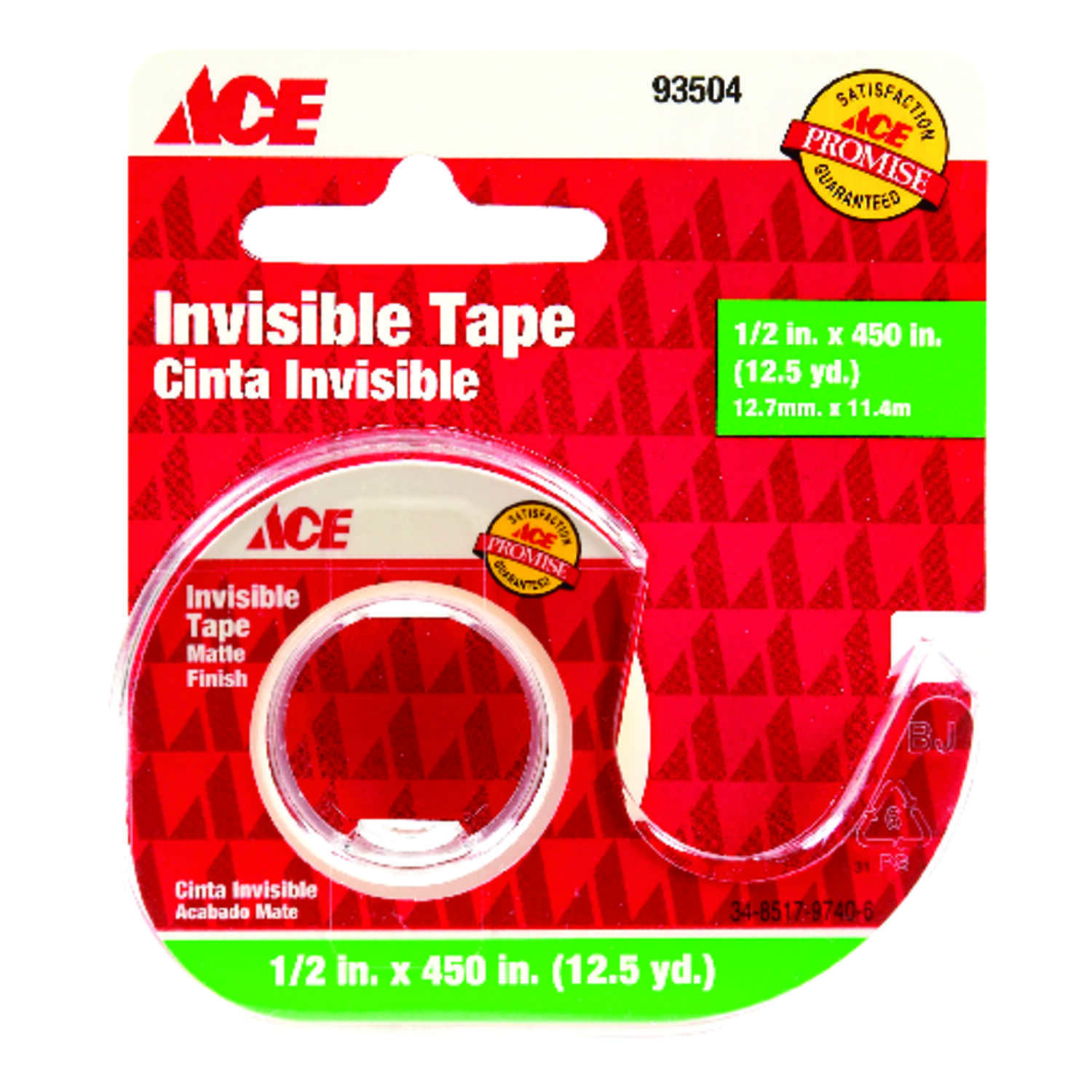 Ace  1/2 in. W x 450 in. L Tape  Clear