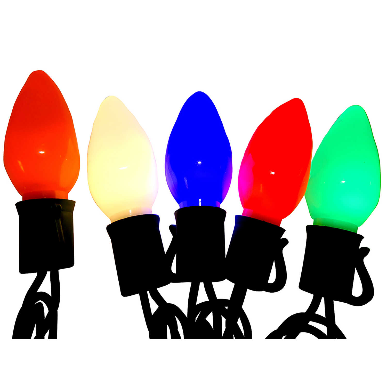 celebrations c9 led ceramic look christmas light set multicolored 24 ft 25 lights
