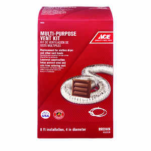 Ace  4 in. W x 6 in. L Brown  Plastic  Dryer Vent Kit
