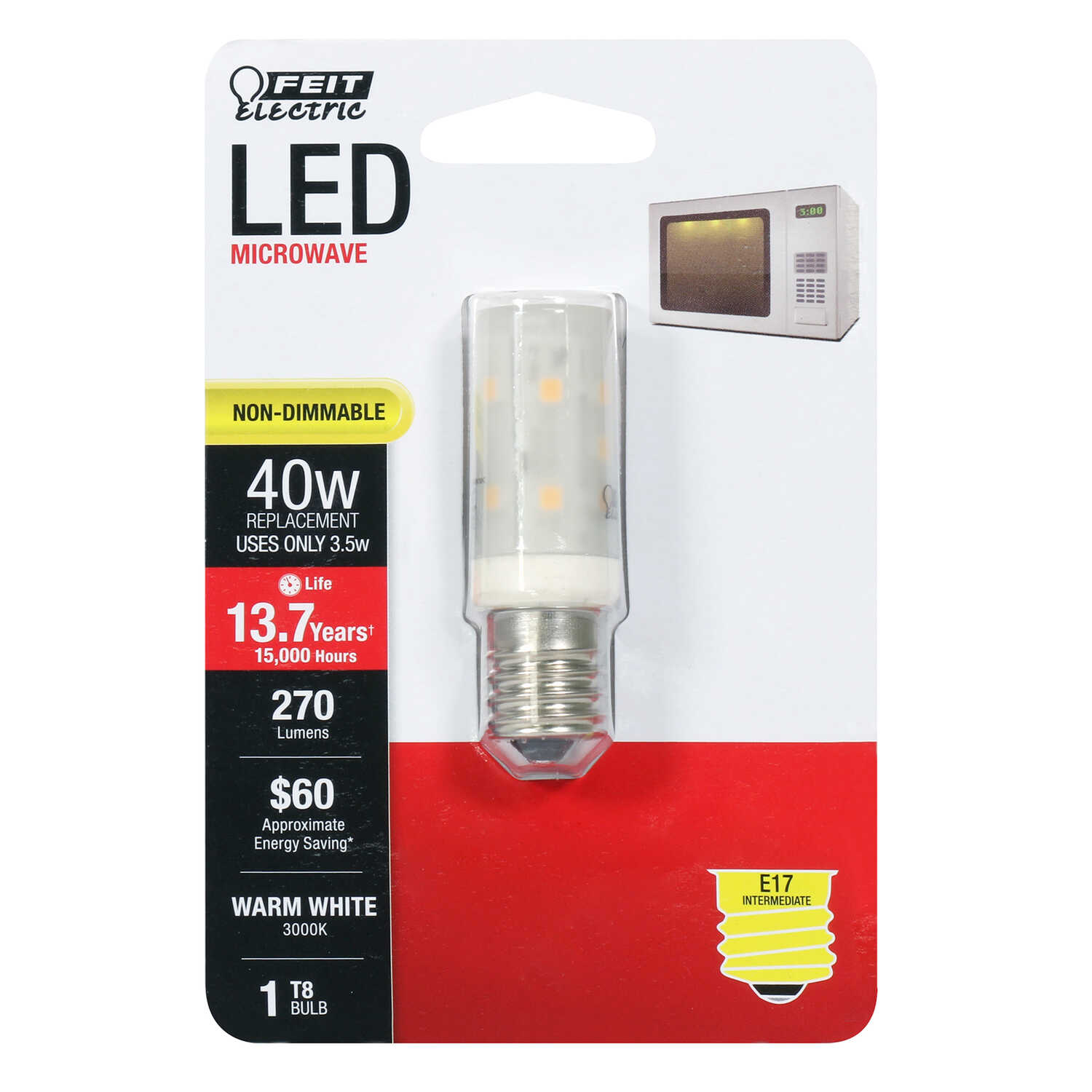 FEIT Electric  3.5 watts T8  LED Bulb  270 lumens Warm White  Appliance  40 Watt Equivalence