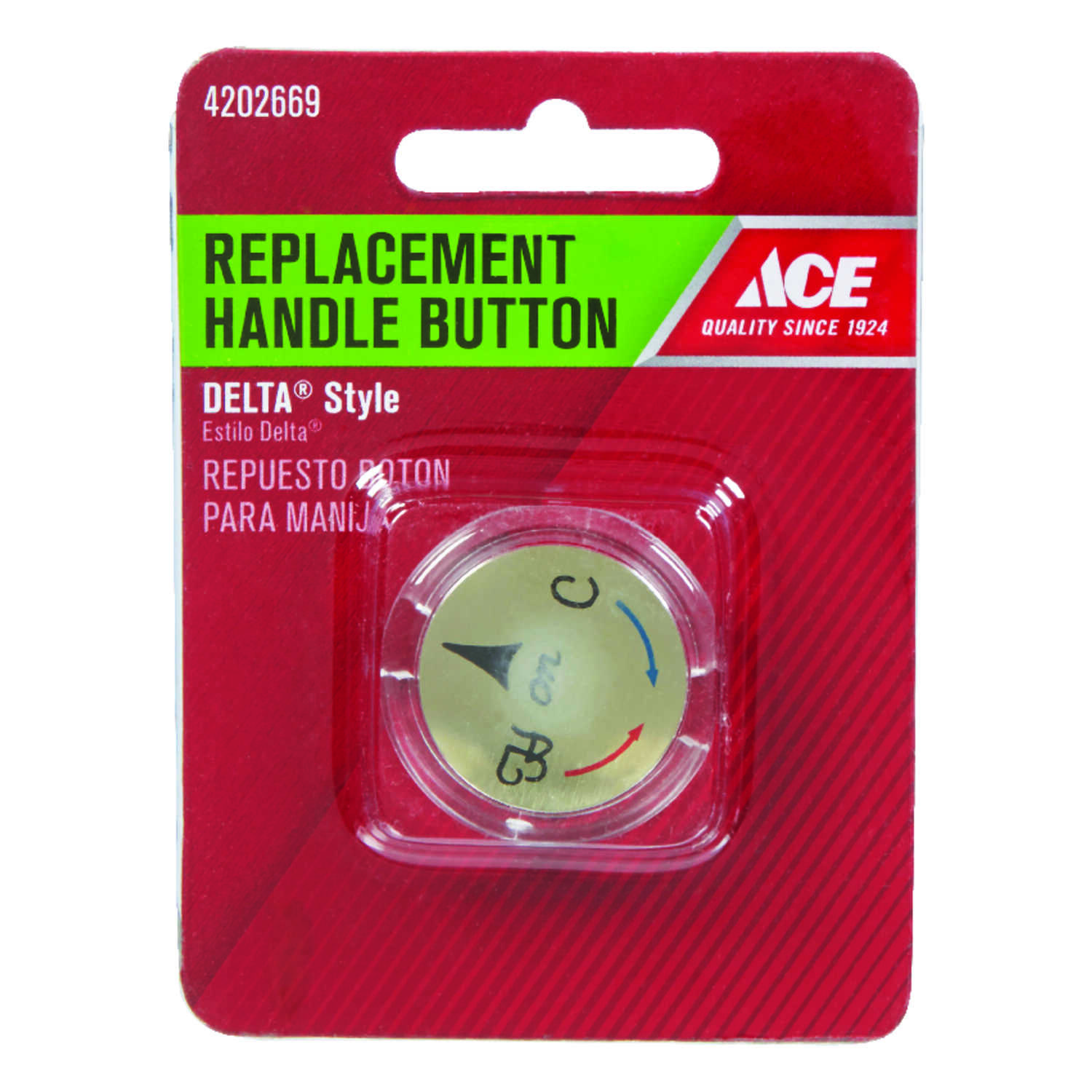 Ace  Snap-in  Plastic  Clear  Hot and Cold  Index Button