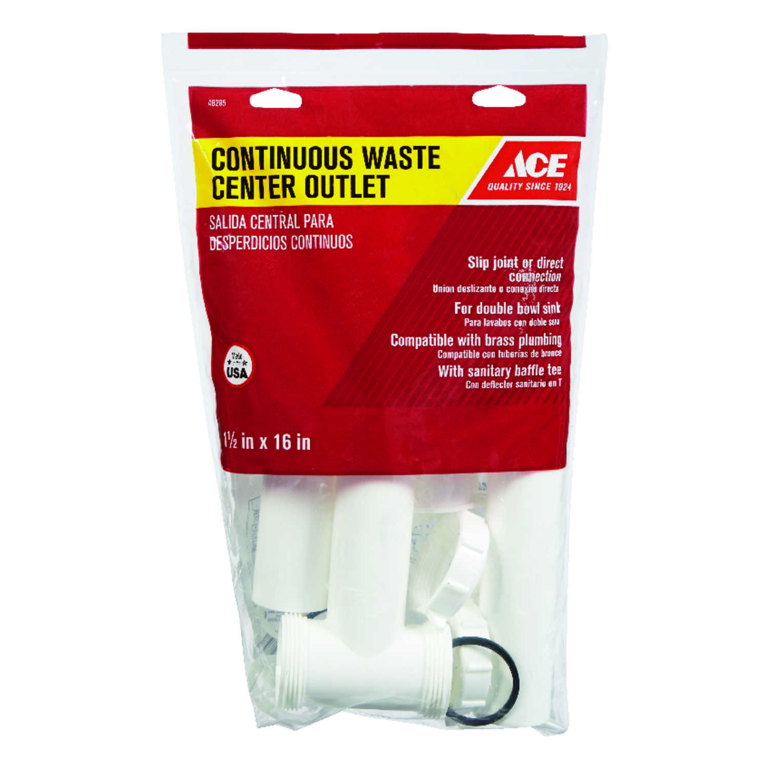 Ace  1-1/2 in. Slip   x 1-1/2 in. Dia. Slip  Plastic  Continuous Waste Outlet